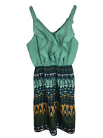 Mossimo Dress Women's Size M Medium, Sleeveless, Teal Green Print, Ruffle Front