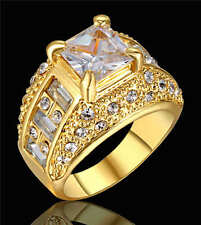 Jewelry Ring Size 9 White Sapphire CZ Women's 18Kt Yellow Gold Filled Wedding