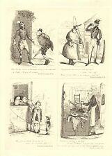 1840 VICTORIAN PRINT ~ SCENES IN LONDON Nos 45 to 47 & 21 HENRY HEATH CARICATURE