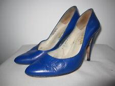 Escarpin Chaussure La Botterie vintage talon haut aiguille Bleu Paris Cuir - 37