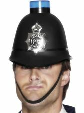 Men's Police Helmet Hat Flashing Light Fancy Dress Emergency Accessory Stag Fun
