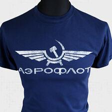 Aeroflot Retro Russe Airline T Shirt USSR Retro Soviet Vintage Cool CCCP Marine