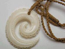 Hawaiian Hawaii Jewelry Spiral Bone Carved Pendant Necklace/Choker # 35242