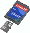 NEW Authentic SANDISK 4GB microSDHC Memory Card w/ SD Adapter~Jewel Case