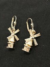 EARRING WINDMILLS WITH TURNING BLADES ROSE COLOR