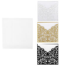 10 Sets Wedding Invitation Cards Kit Laser Cut Lace Floral Seals + Envelopes