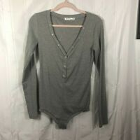 Preself Gray Women's Size: 14 Solid Long Sleeve Button-Up V-Neck Fitted Bodysuit