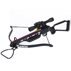 150 lb Black Aluminum Metal Hunting Crossbow Bow +4x20 Scope +7 Bolt 180