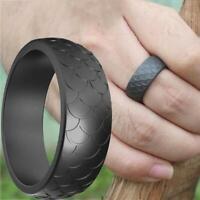 Men Women Fish Scale Soft Silicone Ring Sports Wedding Flexible Rubber W6Z0