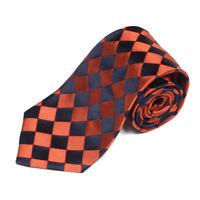 TURNBULL & ASSER Copper Navy Blue Checkerboard Diamond Men's Silk Neck Tie