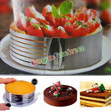 Adjustable Round Stainless Steel Mousse Cake Ring Mold Layer Slicer Cutter Mold