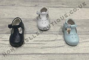 Girls Boys Spanish Leather T Bar Shoes White Navy Blue