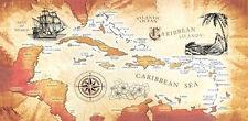 """30"""" x 60"""" Carribean Sea Map Velour Beach Towel"""