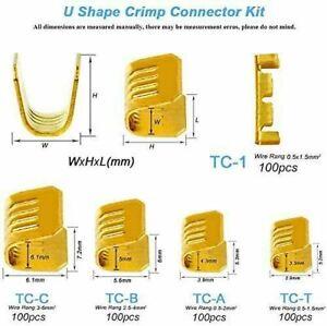 U Shape Copper Terminals Crimp Kit - Non-Insulated Assortment Cable Wire-500 Pcs