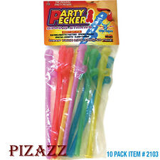 Dicky-Penis Sipping Drinking Straws,10 Pieces of Assorted Neon Colors