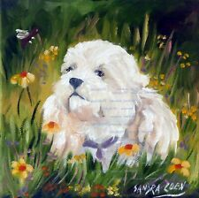 More details for cavapoo charming original oil painting by artist sandra coen art dog lover gift