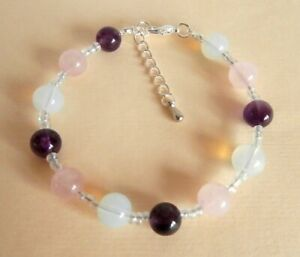 Gemstone Crystal Healing Menopause & Hysterectomy Symptoms Bracelet Gift Bag