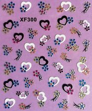 Nail Art 3D Glitter Decal Stickers Black & White Hearts Flowers XF300