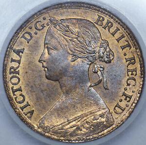 1860 FARTHING (BB) - SLABBED CGS 82  - VICTORIA BRITISH BRONZE COIN