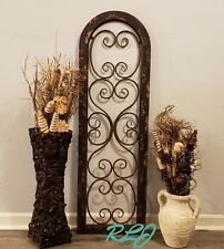 Distressed Rustic Southwest Arched Brown Wood Metal Wall Art Panel Plaque Decor