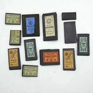 12 x gefüllte Heftchen antike Nadeln Nähnadel aus Sammlungsauflösung