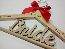 WOODEN WEDDING COAT HANGER PERSONALISED Engrave by Laser