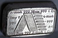 .999 FINE SILVER 1981 A MARK STACKER BRICK BAR 189 U.S. VIRGIN ISLANDS 1 TROY OZ