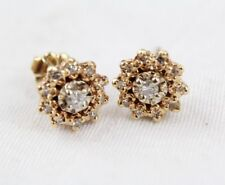 14k 14kt Yellow Gold Cluster Studded Diamond Earrings
