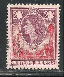 Northern Rhodesia #74 VF USED - 1953 20sh Queen Elizabeth II, Elephants, Giraffe