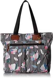 Fossil Bailey Polyester Tote Shoulder Bag - Dark Floral Stripe - NWT - NEW - $98