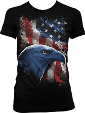 USA Bald Eagle Red White And Blue Stripes American Pride Juniors T-shirt