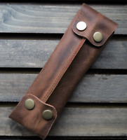 pencil pen storage case holder Stationery bag pocket cow Leather pouch brown 586