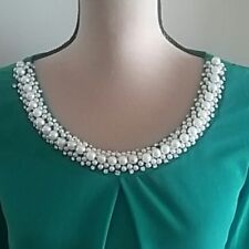 Tovia fashion women bead studs 3/4 sleeve blouse tops-S - Green