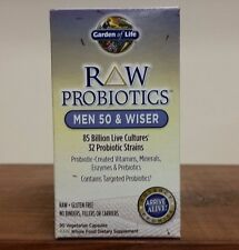 Raw Probiotics MEN 50 & WISER 90 Vegetarian Capsules 85 billion Garden of Life