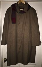 London Fog Maincoats Mens 44 Reg Houndstooth Trench Coat Jacket Lined Wool Scarf