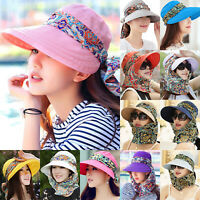 Womens Wide Brim Visor UV Sun Protection Foldable Cap With Neck Flap Scarf Hat