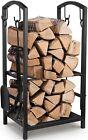 Kaminholzregal Kaminbesteck Brennholzregal mit 4 Werkzeugen Feuerholzregal