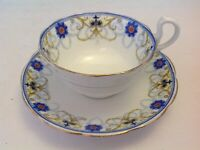 ROYAL ALBERT CROWN CHINA  CUP & SAUCER BLUE FLOWERS YELLOW SWAGS BAND 7129