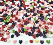 100X Mini heart shape Mixed Colors Resin Buttons 2-holes sewing scrapbooking 6mm