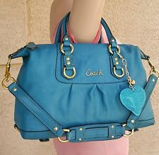 Coach F15445 Ashley TEAL Leather purse Satchel handbag satchel convertible EUC