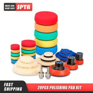 SPTA 29Pc Polishing Pad Buffing Pads Kit With Wool Pad For Car Polisher Buffer