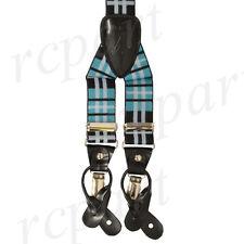New in box Men's Suspender Braces Elastic plaid & Checkers Turquoise blue