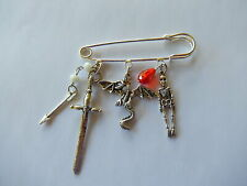 Dragon war weapons game of thrones theme on silver kilt pin handmade