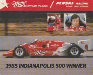 1985 Danny Sullivan Miller Ford March 85C Indy 500 Winner Indy Car postcard