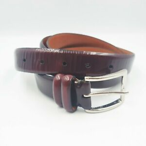 """Cole Haan Mens Size 46"""" Oxblood Maroon Red Patent Leather Slim Dress Belt"""