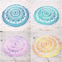 Hippie Indian Ombre Mandala Round Roundie Cotton Beach Throw Tapestry Yoga Mat