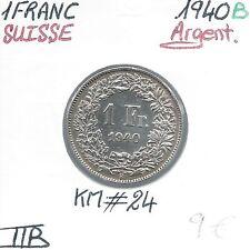 SUIZA - 1 FRANCO - 1940 B - Moneda de plata Calidad: MUY BUEN ESTADO