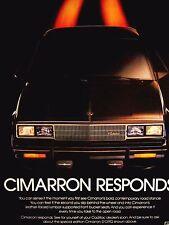"""1983 Cadillac Cimarron Original Print Ad-8.5 x 10.5""""Cimarron Responds"""