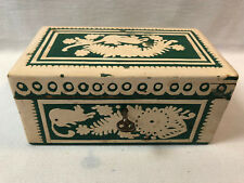Vintage Wooden Jewelry Box with Key (1940s).