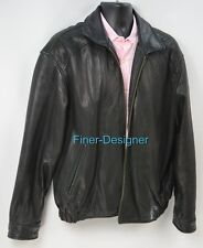 Hathaway Mens Soft Leather bomber OUTERWEAR jacket zip coat gangster moto XL VTG